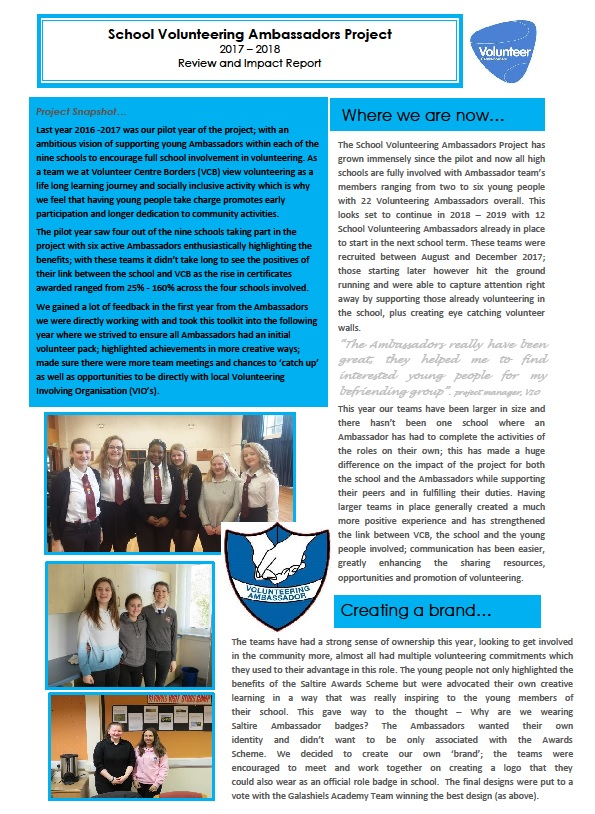 School Volunteering Ambassador Impact report 2017 2018